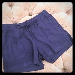 Allen Allen navy blue linen shorts